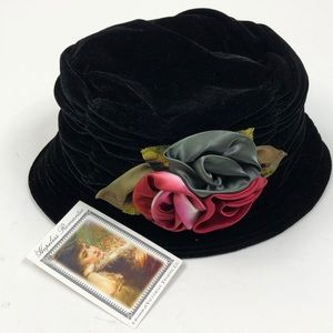 Hopeless Romantic Black Velour Bucket Hat